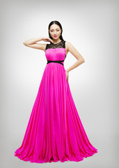 Long Dress, Young Fashion Woman Model in Pink Gown High Waist