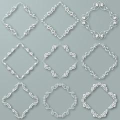 Set of white vector frames