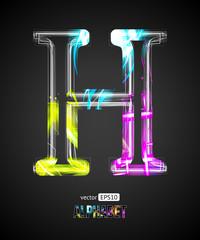 Vector Design Light Effect Alphabet. Letter H