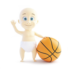baby playing with a basketball