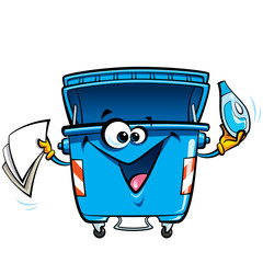 Happy face cartoon recycle trash bin anthropomorphic character r