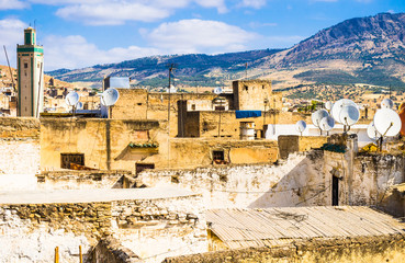 Panoramic view of old medina of Fez, Morocco.