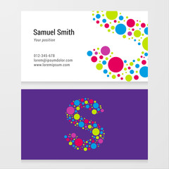 Modern letter S circle Business card template