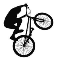 Biker trick vector silhouette