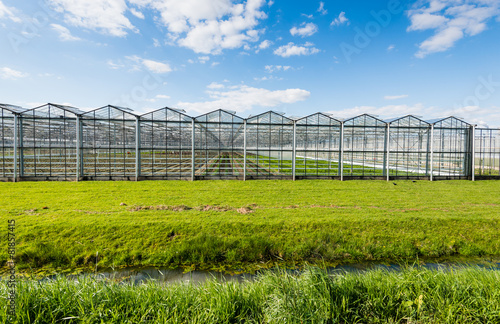 Staande foto Industrial geb. Modern and transparent greenhouse on the outside