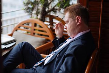 Stressed pensive businessman