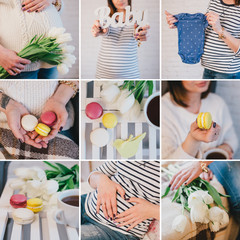 Collage of nine photos about pregnancy