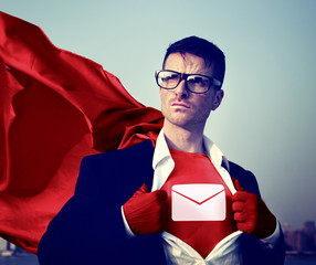 Envelop Star Strong Superhero Success Professional Concept