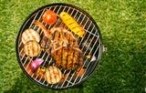 Healthy lean pork loin with veggies on a BBQ
