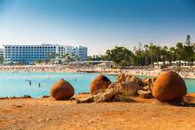 """Постер, картина, фотообои """"old pots at Nissi beach, Cyprus"""""""