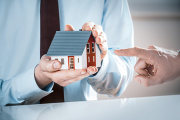 Finger Pointing Miniature House Hold by Agent