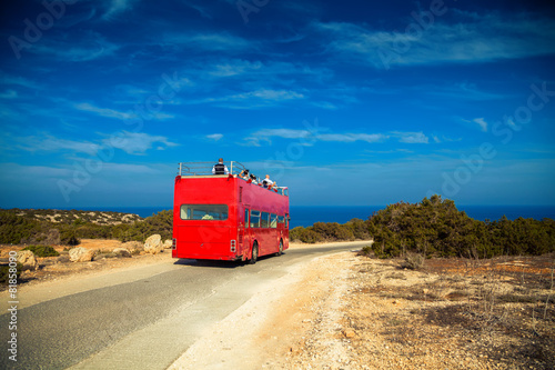 wedding red bus in Cyprus