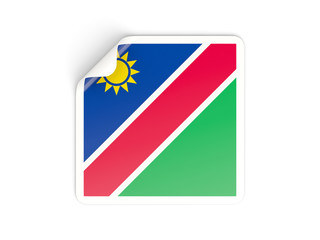 Square sticker with flag of namibia