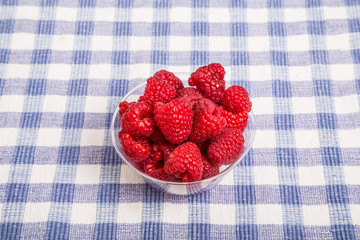 Raspberries in Bowl on Blue Checked Cloth