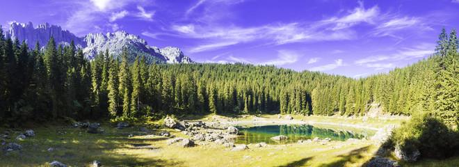 Carezza lake and mount Latemar