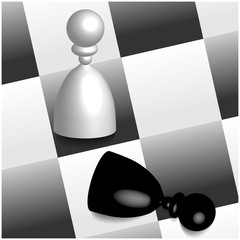 3D chess figures on board