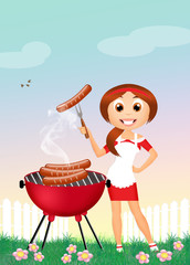 girl on brbecue