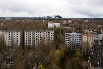 View from roof of 16-storied apartment house in Pripyat town