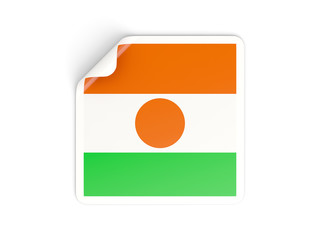 Square sticker with flag of niger