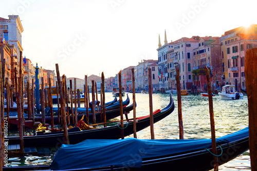 Deurstickers Gondolas Gondola boats in Venice, Italy