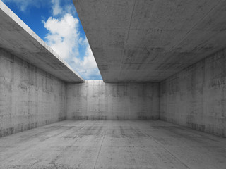 Abstract architecture, empty concrete room interior