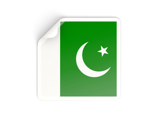 Square sticker with flag of pakistan