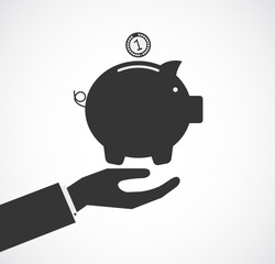 hand support piggy bank concept business
