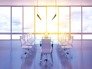Office meeting room with panoramic view.