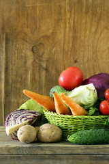 various vegetables (carrots, potatoes, cabbage, tomatoes)