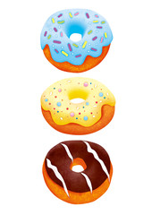 Three donuts illustration with clipping path