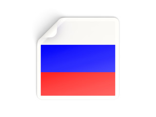 Square sticker with flag of russia
