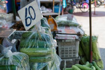 Cucumber shop  Chiang Mai, Thailand. Selective focus.