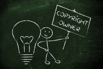 funny copyright owner man with his idea, concept of intellectual
