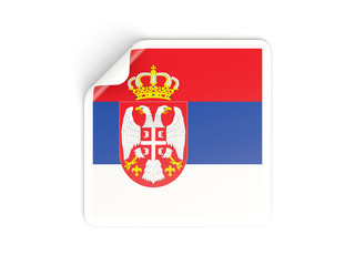 Square sticker with flag of serbia