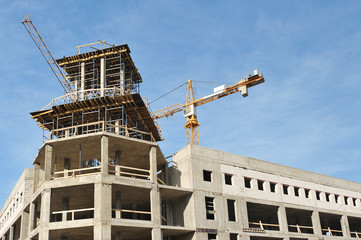 the construction of modern concrete-reinforced concrete building