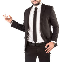 Hipster man in a classic suit isolated on white background.