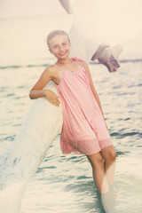 Summer vacation, portrait of lovely fashion young girl on the be