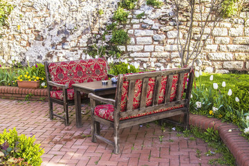 a comfortable place to relax in the tea garden in Istanbul