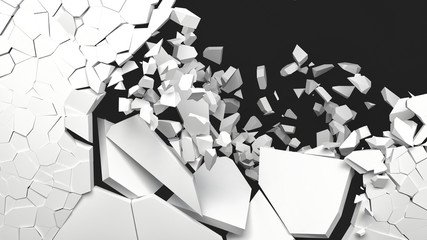 3d rendering destruction of wall