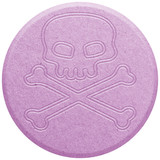 Pink Ecstasy pill isolated on white poster