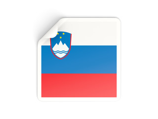 Square sticker with flag of slovenia