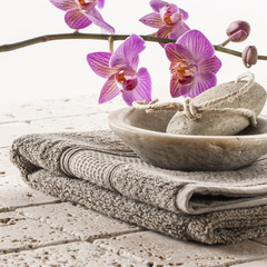 cotton towel and pumice for spa treatment
