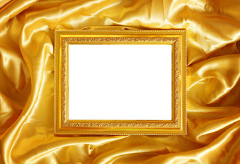 Gold frame on fabric silk for background