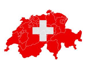 Karte und Fahne der Schweiz