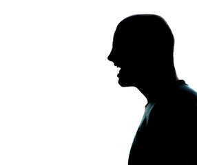 man portrait silhouette profile screaming angry