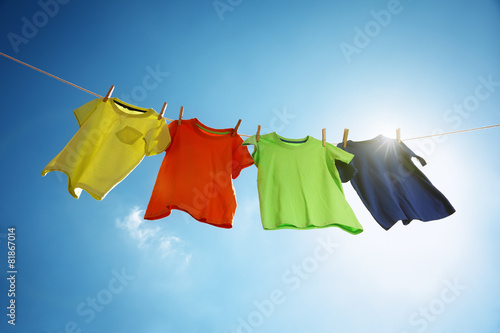canvas print picture Clothesline and laundry