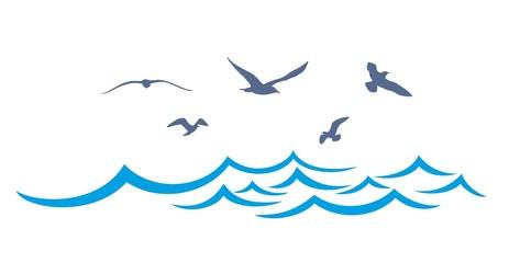 Sea landscape with seagulls.