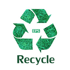Vector recycle symbol with watercolor colors.