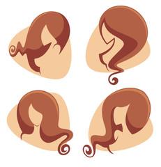 girls silhouettes with reach hair