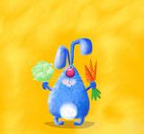 Blue Rabbit Holding Presents